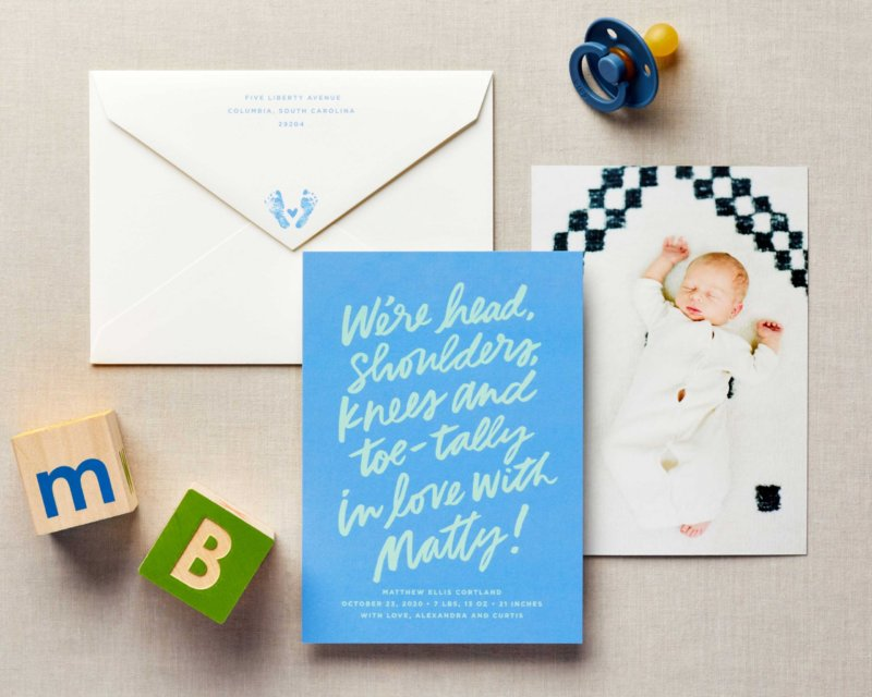 hand lettering baby announcement